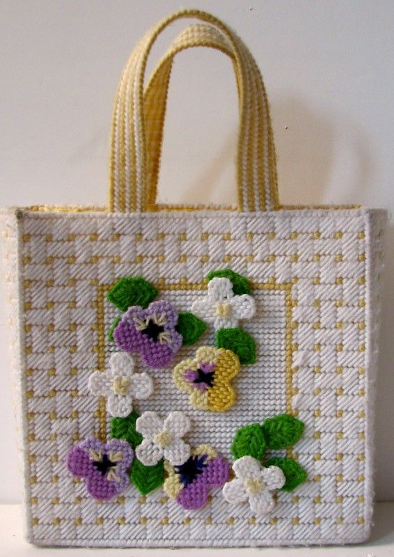 Vintage 1970s Cute Handcrafted Needlepoint Tote Bag By