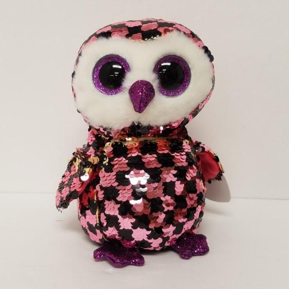 """Ty FLIPPABLES ~ CHECKS the Owl Changing Sequins 6/"""" Beanie Boos 2019 NEW ~IN HAND"""