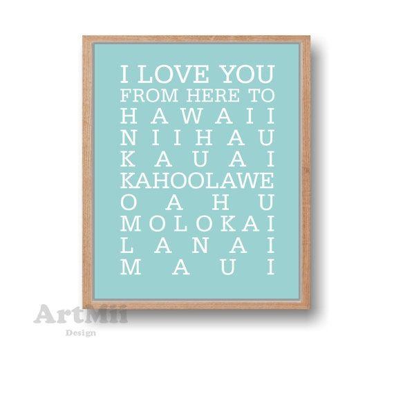 Hawaii art print,Hawaii print, Hawaai,Hawaai Travel print,Hawaii wedding gift,Hawaiian islands travel poster, Wall decor,Anniversary gift by ArtMii