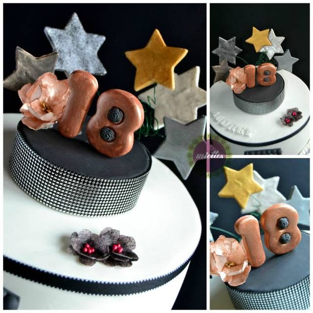 Audrey, who just turned 18, wanted an Audrey Hepburn-inspired birthday cake; the look is elegant and sophisticated as is Audrey. Colors are black and white with additional metallic colors, bronze, gold and silver. Flowers are made with wafer...