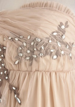 Pale peach, classy party dress  So pretty!  >>First Look in the Foyer Dress, #ModCloth