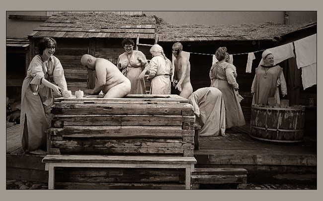 Finnish sauna--adults in the community sauna