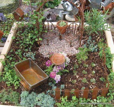 I love the idea of a mini vegetable garden inside a miniature