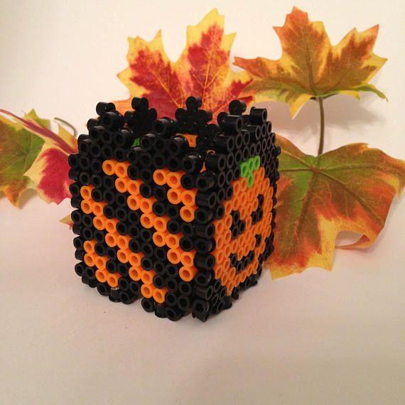 Happy Pumpkin Perler Bead Halloween Black and Orange Small