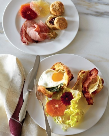 66 fabulous brunch recipes from Martha Stewart Living, including Gruyere Popover Sandwiches with Fried Eggs and Creamed Spinach