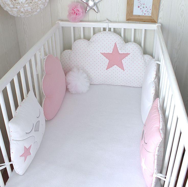 Tour de lit b b en 60cm large r versible nuages et hiboux rose et blanc bebes pinterest - Tour de lit rose poudre ...
