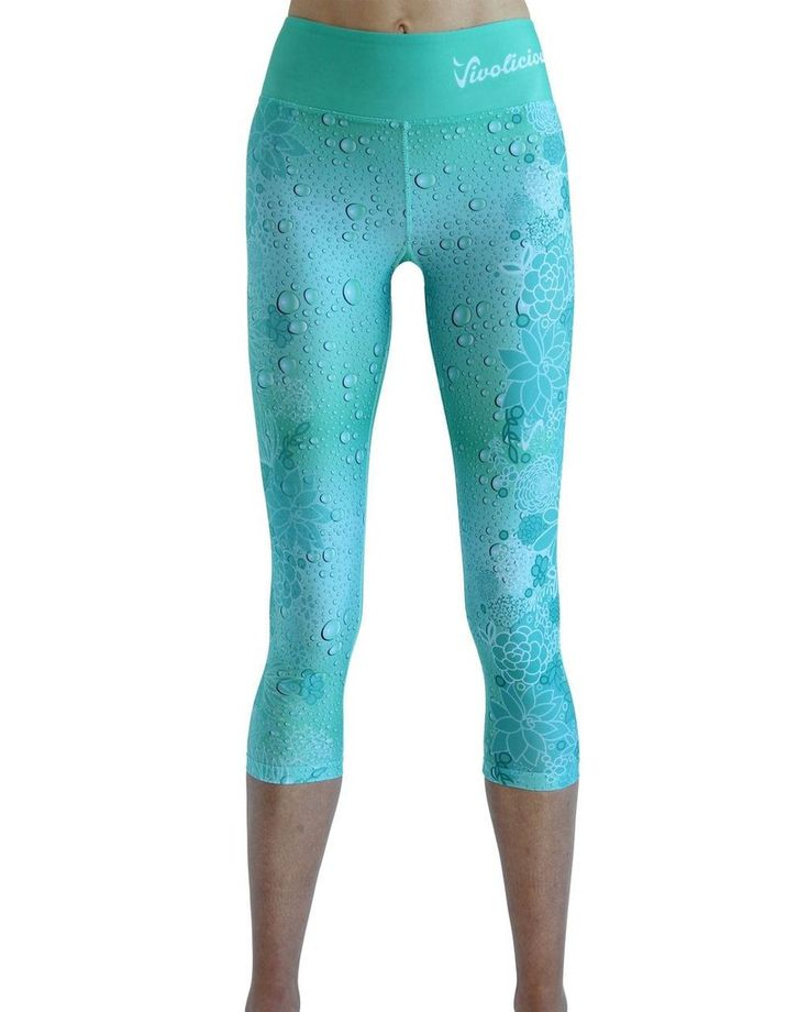 Tech 3/4 Capri Leggings - Raindrops #3/4-LEGGINGS #CAPRI #CAPRI-LEGGINGS