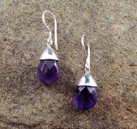 Amethyst Earrings by Entia Silver Jewellery. Available at www.threemadfish.com