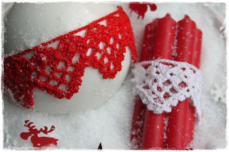 Fijn gehaakt randje uit Inhaken op de winter te gebruiken als kerstversiering