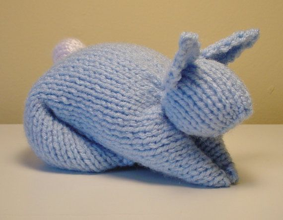 Stuffed Bunny Toy Hand-Knit in Light Blue