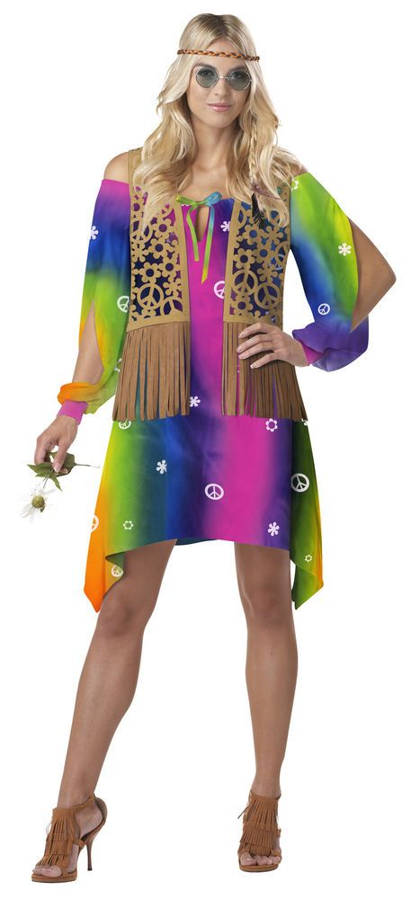 LADIES ADULT HIPPIE CHICK FANCY DRESS COSTUME HIPPY 60s 70s GROOVY OUTFIT