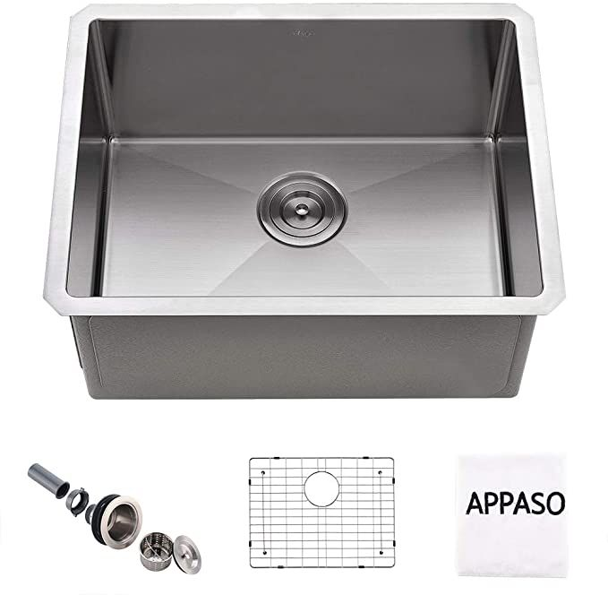 Appaso 23 Inch Single Bowl Kitchen Sink Undermount 16 Gauge Commercial Stainless Steel 10 Inch Deep Laundry Utility Sink Handmade Drop In Small Kitchen Sink In 2020