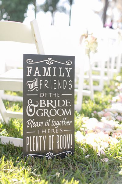"""Finally. A much better alternative to the """"choose a seat, not a side"""" sign Thanks, Southern Weddings!"""