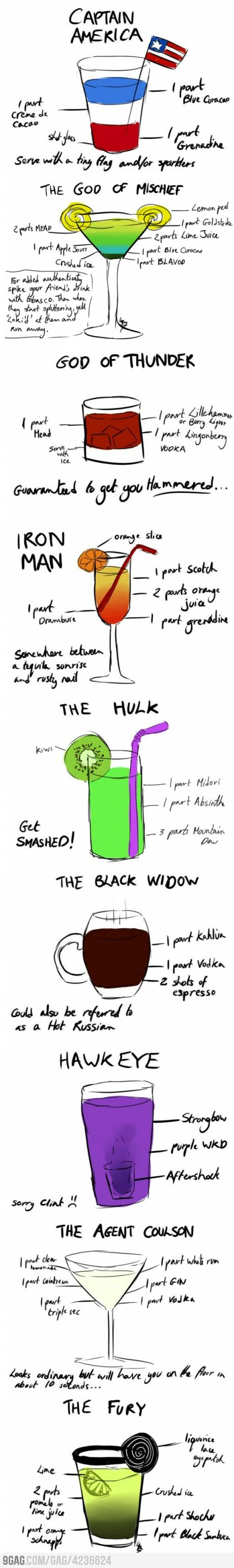 the Avengers drinks- For a future Avengers party, maybe?