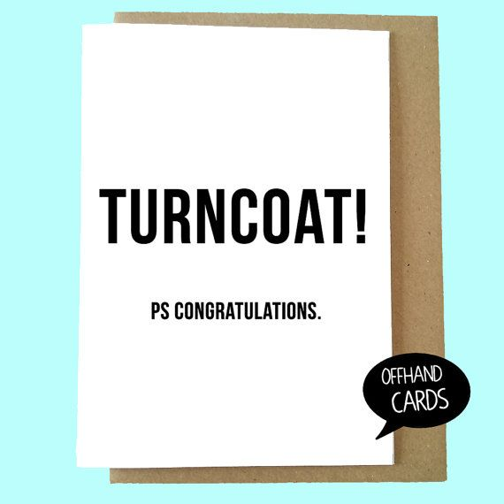 Turncoat Funny Leaving Card New Job Promotion Card by OffhandCards