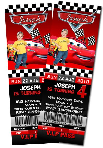 T1 Cars Ticket-disney cars, Ticket invitations, McQueen, Cars2, cars the movie, cars party invitations