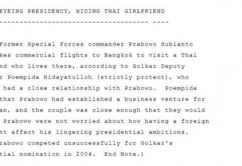 #capres2014 #Prabowo Wikileaks Bocorkan Rahasia Prabowo akan Menikahi Perempuan Asal Thailand http://siagaindonesia.com/r/79902