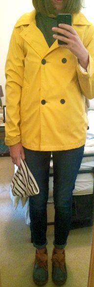 Yellow Raincoat, Skinny Jeans, L.L. Bean Rubber Mocs, Saint James Striped Beanie  secondfloorflat.com