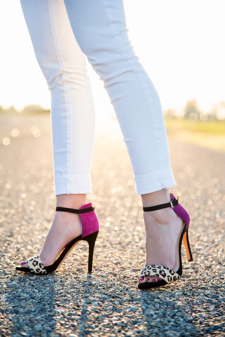 pop of color with strappy heels - Visit Stylishlyme.com to read the 5 Style Tips