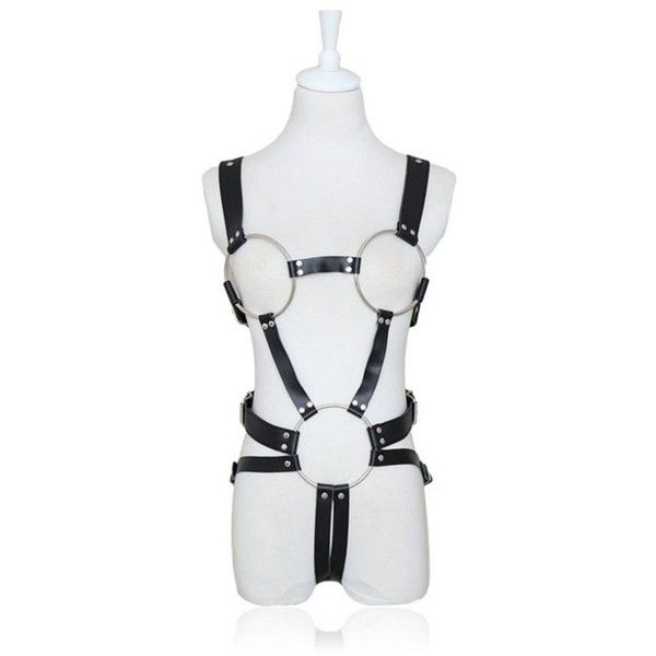 mywaxberry black faux leather body harness slave bondage sexy lingerie... (35 BRL) ❤ liked on Polyvore featuring intimates, sexy lingerie, leather look lingerie, harness lingerie and faux leather lingerie