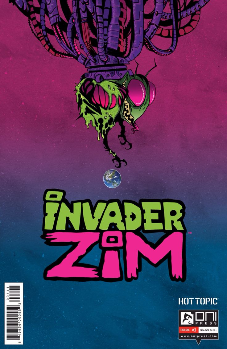 My favorite variant for invader zim issue #1. Unlike the other whimsical covers, this one takes zim seriously and portrays him as a deadly plague about to devour earth. Although zim can be a bit of a fool at times, he is still a force not the be trifled with, and this cover shows that perfectly.