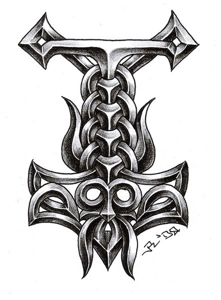 deviantART: More Like Thors Hammer Tattoo by ~sobie182 For my inner viking.... Love the shading on this