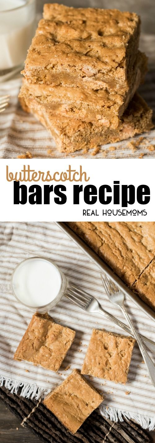 Easy Butterscotch Bars are loaded with brown sugar and butterscotch chips for a soft, chewy cookie bar that your kids will love! via @realhousemoms