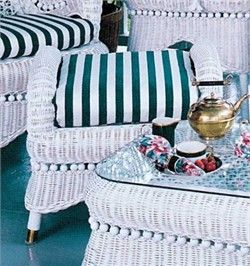 Victorian Wicker Ottoman  An ottoman with antique styling, great for any room. A perfect addition to our Victorian Wicker set. Measures 24