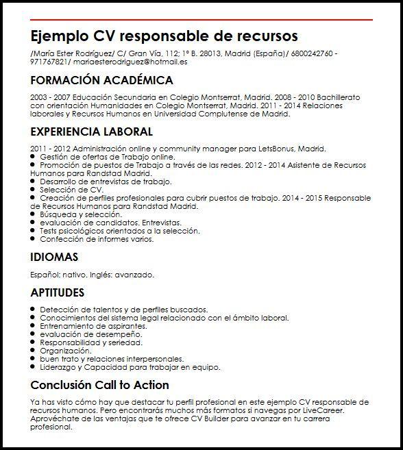 Curriculum Vitae Recursos Humanos Modelo De Curriculum Vitae In 2020 Education Resume Job Resume Curriculum Vitae Template