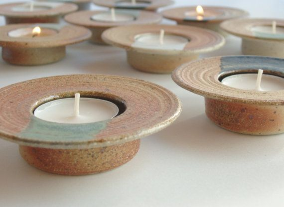 Ceramic candle holders set of 2 oneofakind stoneware by toscAnna
