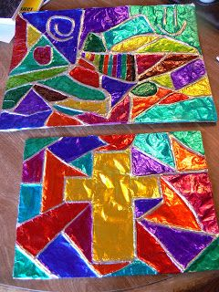 Tessellation stained glass with tin foil project idea