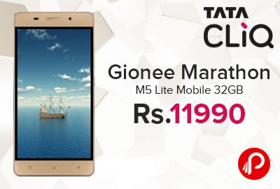 TataCliq is offering Rs.1000 off on #GioneeMarathonM5Lite #Mobile #32GB Just Rs.11990 from Supertron Seller. Gionee Marathon M5 Lite Smartphone in Gold runs on a powerful 4000 mAh battery, which offers up to 33 hours of talk time and 450 hours of stand-by time. This smartphone with an 8 MP Primary Camera, 5 MP Secondary Camera clicks crisp pictures. 3 GB RAM and 32 GB ROM, 1280×720 pixel resolution, 8 MP Primary Camera...  http://www.paisebachaoindia.com/gionee-marathon-m5-lite-mobile-32gb/