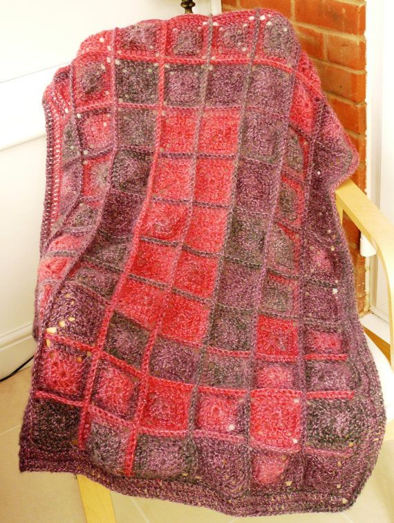 Luxury Crochet mohair and wool blanket Pink Rose by TheFluffyDuck, £65.00