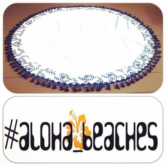 "Our lovely ""blue daisy"" round beach towel by #aloha_beaches.Find us on https://www.etsy.com/shop/aloha4beaches?ref=hdr_shop_menu"