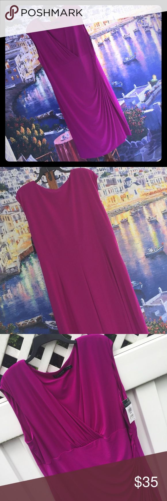 "Faux Wrap Dress Oh so flattering slinky number in a sophisticated magenta. Cap sleeves, shapely seaming. Deep surplice neckline echoes drape of the faux sarong skirt. Stretchy. Machine washable. Would pack like a dream. 44"" long. NWT by Ralph Lauren. Lauren Ralph Lauren Dresses"