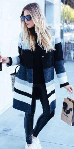 Leather leggings + striped coat.