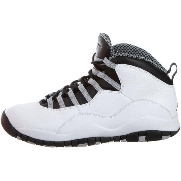 Pre-owned Nike Air Jordan Retro 10 Sneakers ($295) ❤ liked on Polyvore featuring men's fashion, men's shoes, men's sneakers, grey, mens high tops, mens grey sneakers, mens hi tops, mens sneakers and mens shoes
