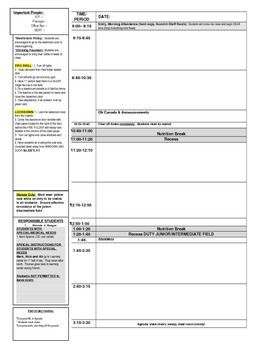 Looking for a template that easy to plug your daily plans into when you need a supply?  This template allows for you to include emergency plans, students with special needs, helpful assistants, and daily routines etc