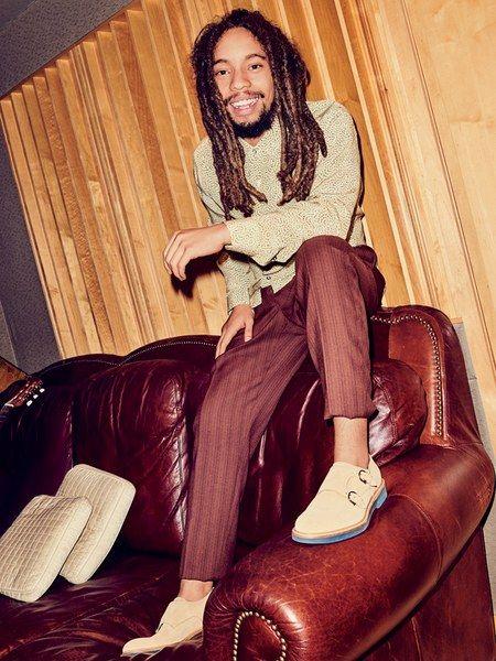 "Joseph ""Jo Mersa"" Marley AGE: 25 PROVENANCE: Grandson of Bob, son of Stephen Shirt, $600, Jeffrey Rüdes Pants, $1,100, and shoes, $795, Salvatore Ferragamo"