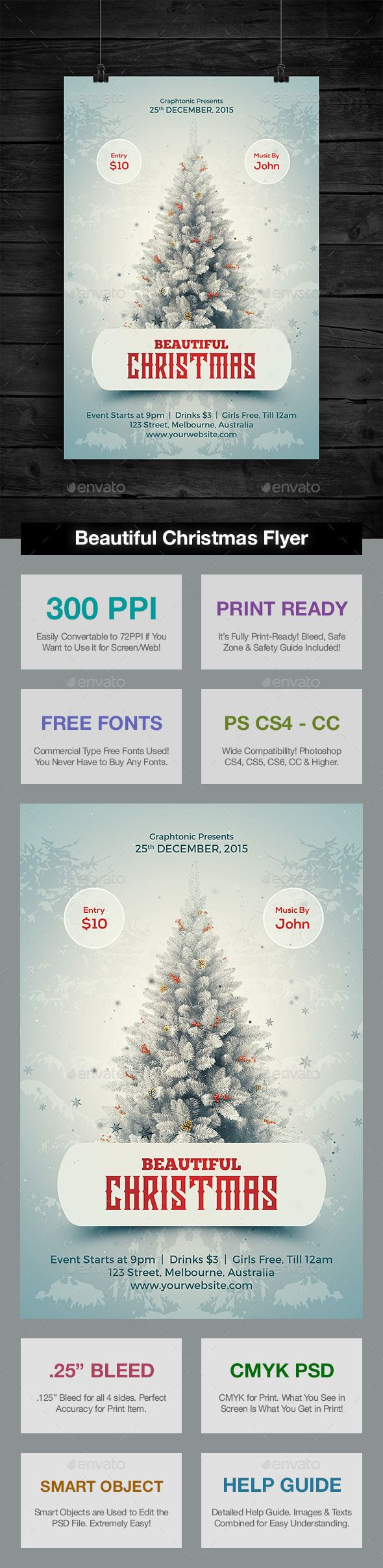 Beautiful Christmas #Flyer - Holidays #Events #Christmas #NewYears #Seasons #Holidays #Winter #Graphics #Design #Xmas