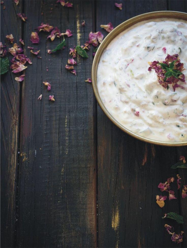 Persian cucumber, dill & yoghurt dip with dried rose petals. #Mast khiar #Persian recipes #Persian cookbook #Persian dips