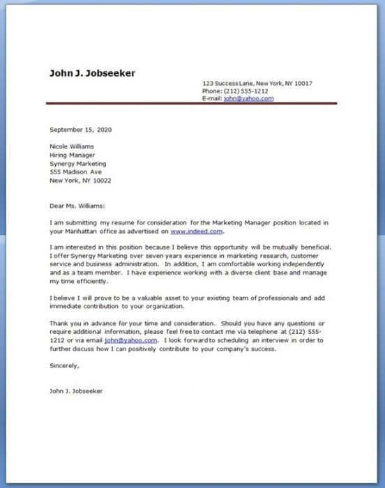 Cover Letter Contact Information. Professional Resume Cover Letter