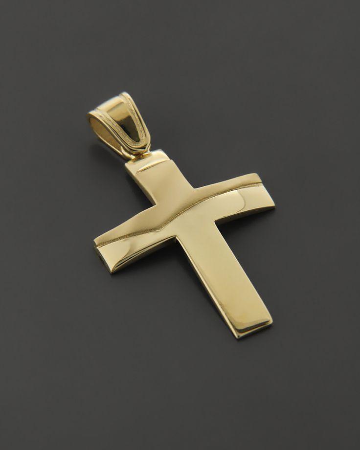 Σταυρός Χρυσός K14 δύο όψεων | eleftheriouonline.gr