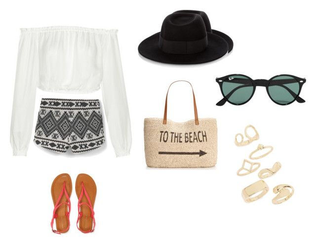 """""""Beach"""" by aliza-ahmed on Polyvore featuring Elizabeth and James, MANGO, Aéropostale, Style & Co., Maison Michel, Ray-Ban and Topshop"""