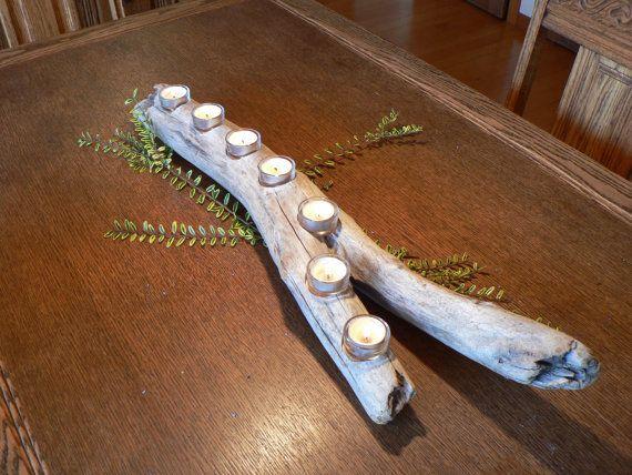 Driftwood candle holder Holiday center by FlotsamJetsamCrafts