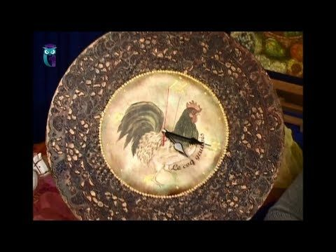 Decoupage. Clock's and wood board decoupage in the technique of metal lace imitation. Diy. Handmade - YouTube