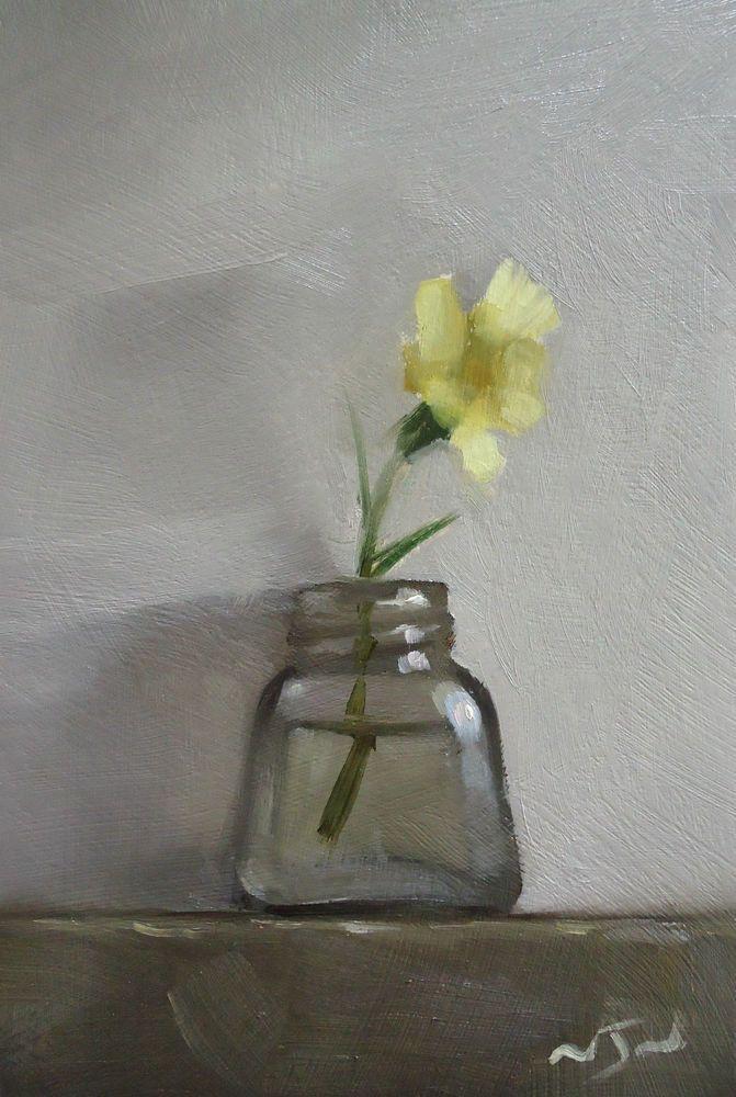 Original Oil Painting - Primula - Miniature Still Life Art - Nelson