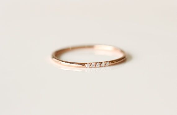 14k Rose Solid Gold Diamonds Ring In Pave Set by KHIMJEWELRY