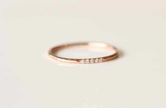 14 K Rose Solid Gold ebnen-Diamant Eheringe Diamant von KHIMJEWELRY