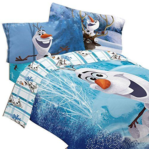 5pc Disney Frozen Full Bedding Set Olaf Build a Snowman Comforter and Sheet Set ** You can find more details by visiting the image link.